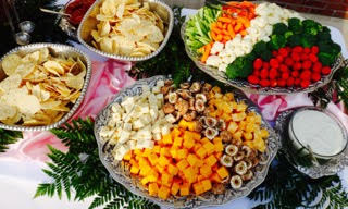 Catering cheese and vegetable assortment