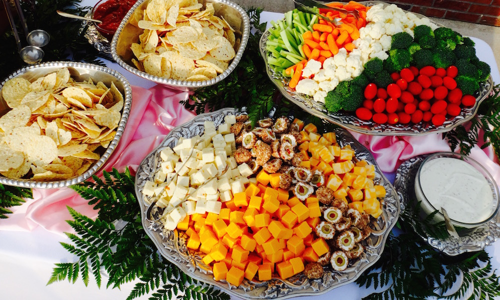 Catering tray of cheese and vegetable assortment